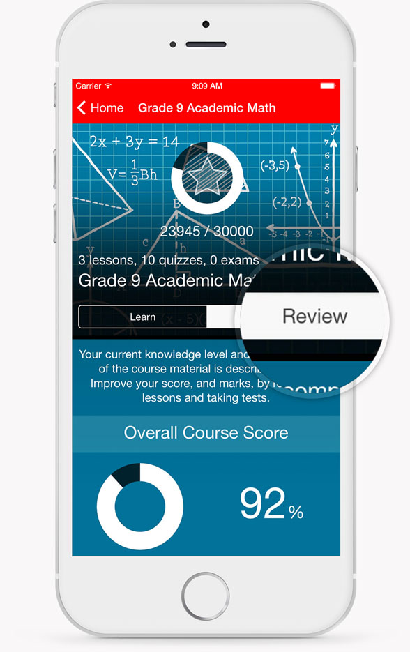 Personalized Section Course Review Screenshot