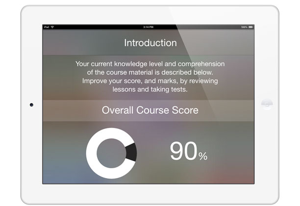 Adaptive Screenshot of iPad with Overall Course Score