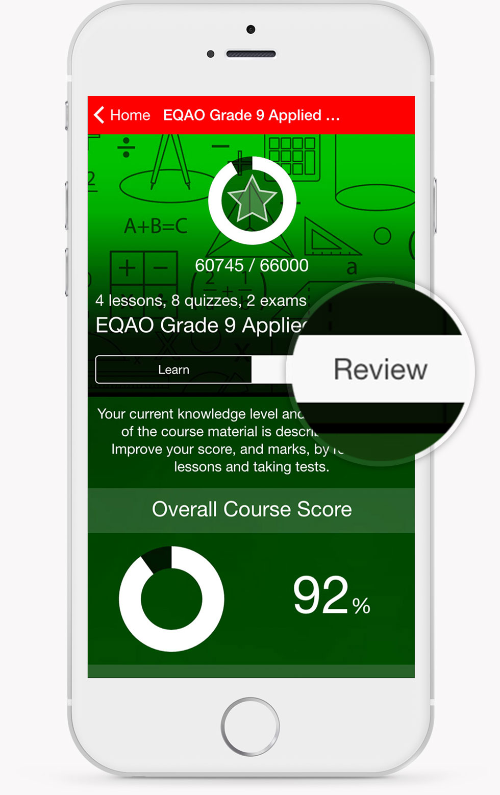 EQAO Applied Math Course Review Screen