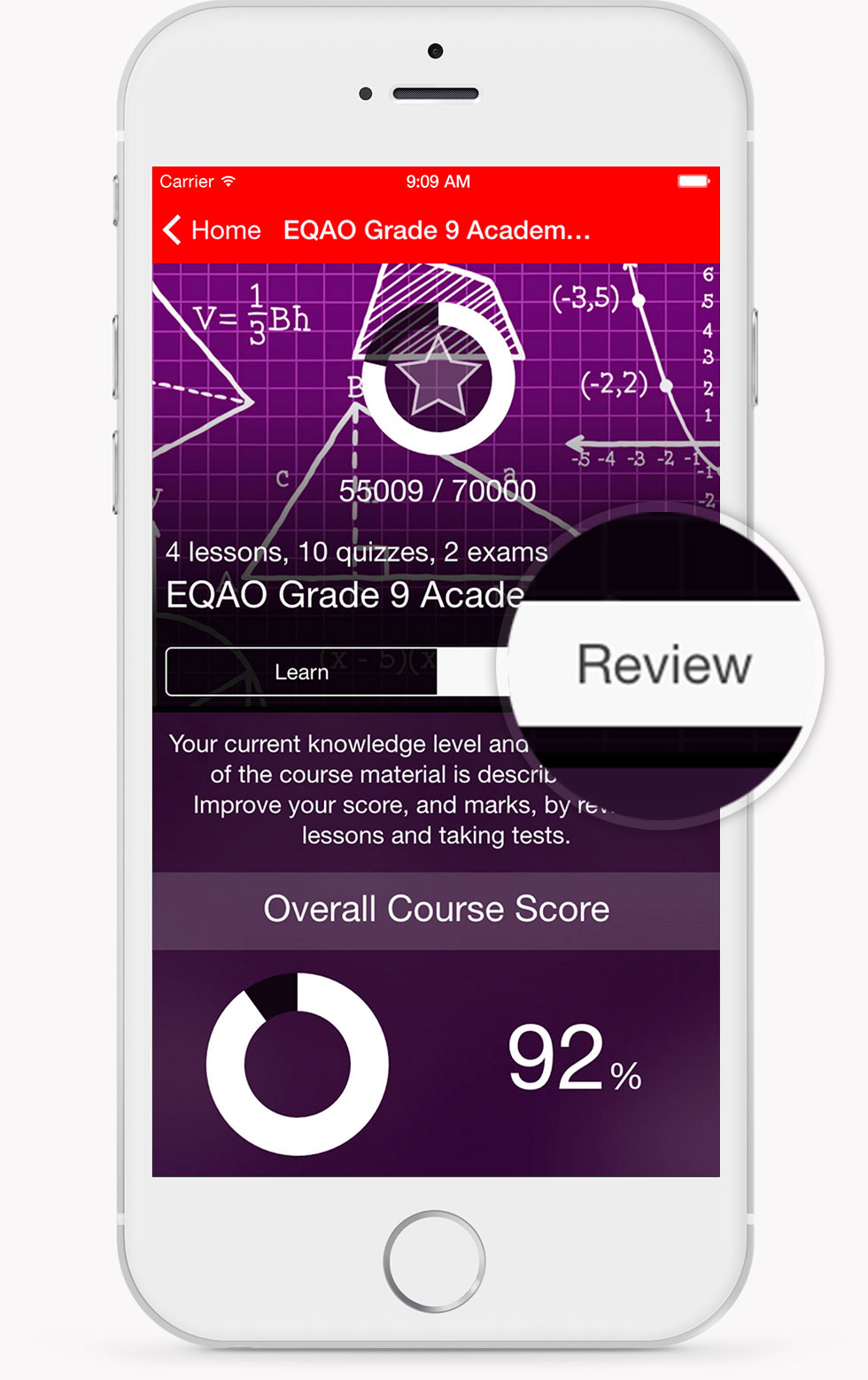 EQAO Academic Math Course Review Screen