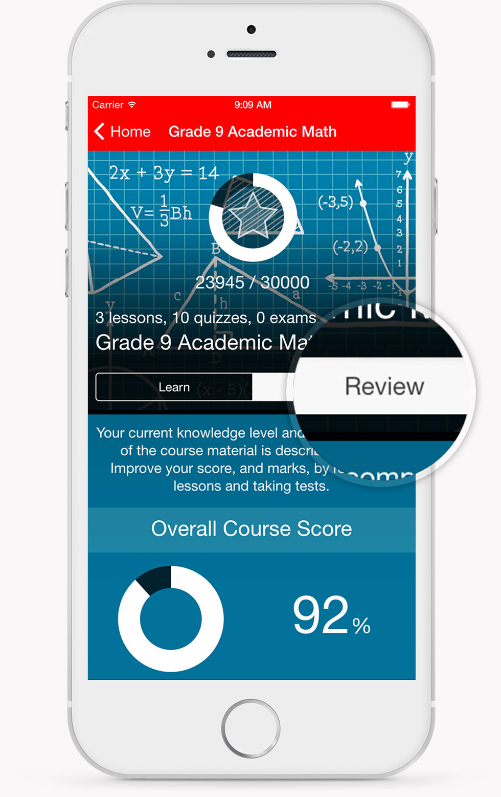 Grade 9 Academic Math Review Screen